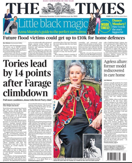 The Times front cover. Former Yves Saint Laurent and Dior model Leslie MacLennnan rediscovered in care home by fashion photographer James Muller