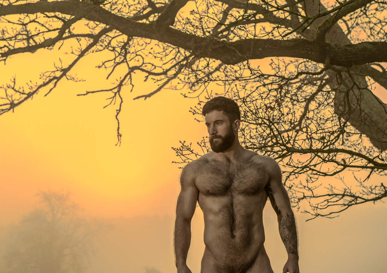 Male physique and fitness photography at sunrise by Farnham, Surrey based portrait and fashion photographer James Muller