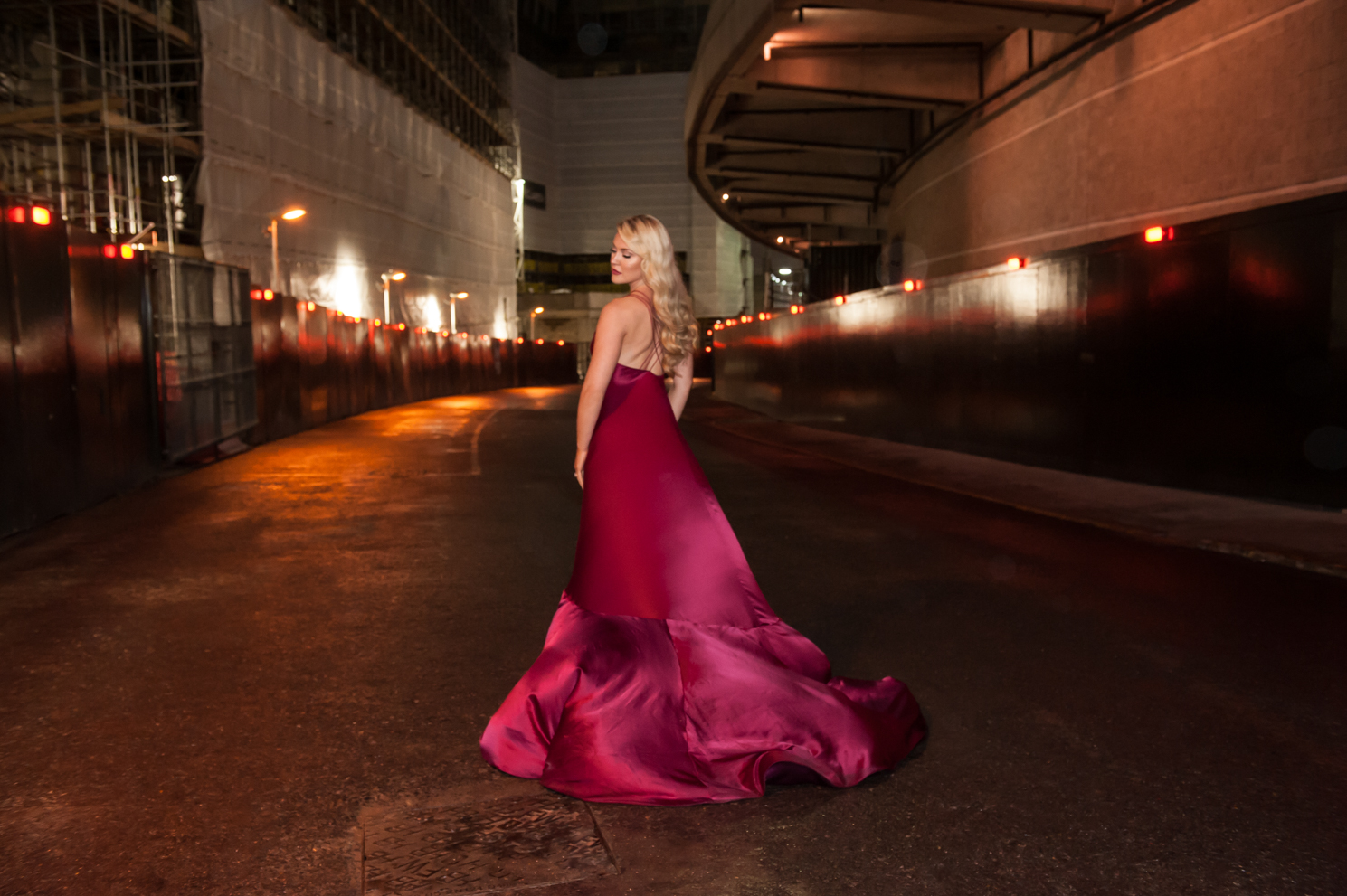 Soprano singer Camilla Kerslake in a Lee Paton London couture red dress photographed by Farnham, Surrey based fashion and portrait photographer James Muller
