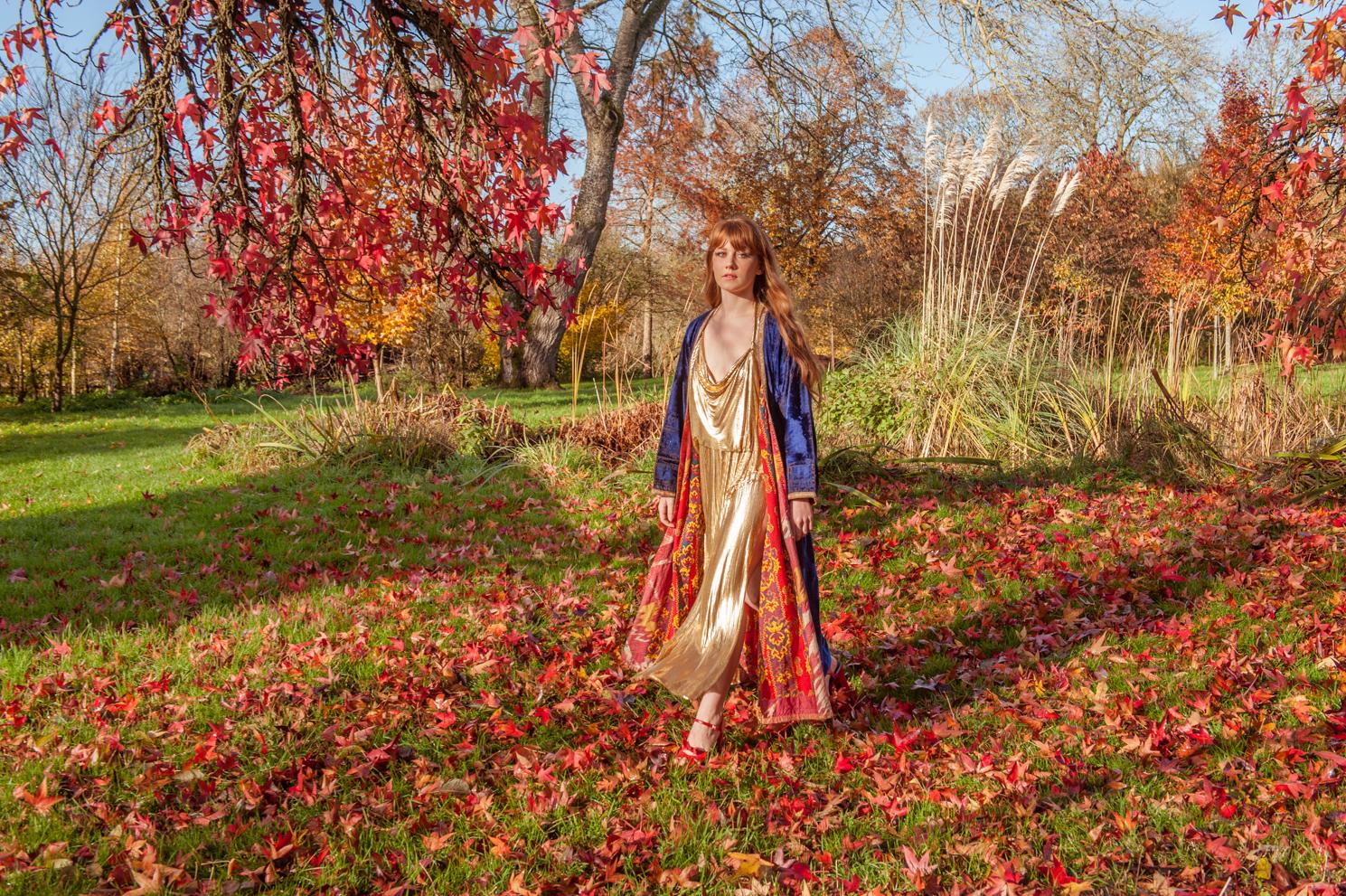 Autumn days. Hannah Chinn in gold by Farnham, Surrey based portrait and fashion photographer James Muller