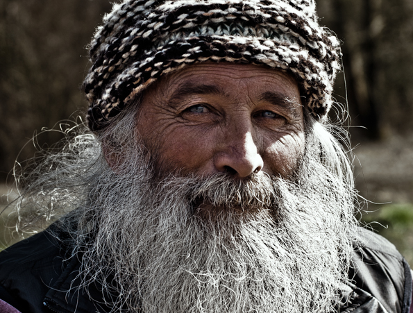 The eyes say it best. Old, wrinkly, bearded man portrait by Farnham, Surrey based fashion photographer James Muller